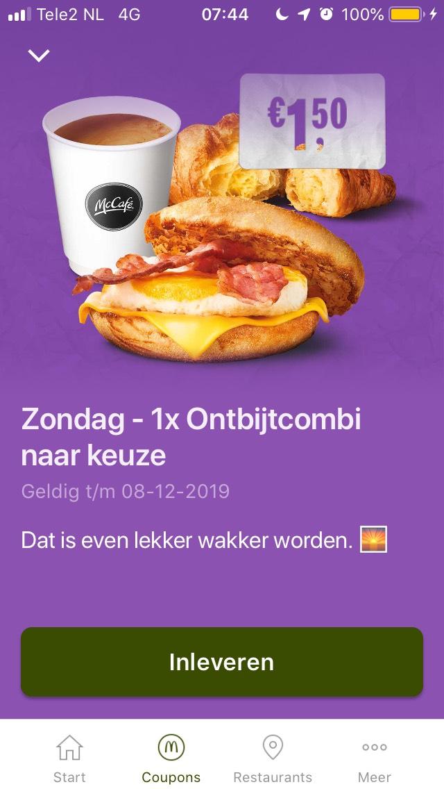 Ontbijtcombi €1,50 bij Mac Donald's