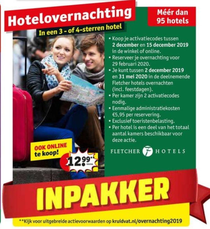 Fletcher Hotelovernachting €12,99 p.p. + €5,95 (eenmalig) toeslag @ Kruidvat