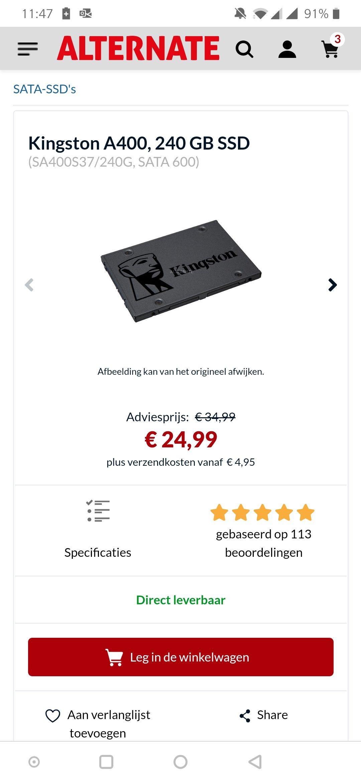 Kingston 240GB SSD max 3. Per klant