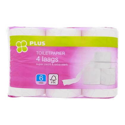 4-laags toiletpapier van de Plus 12 rollen voor 2,49