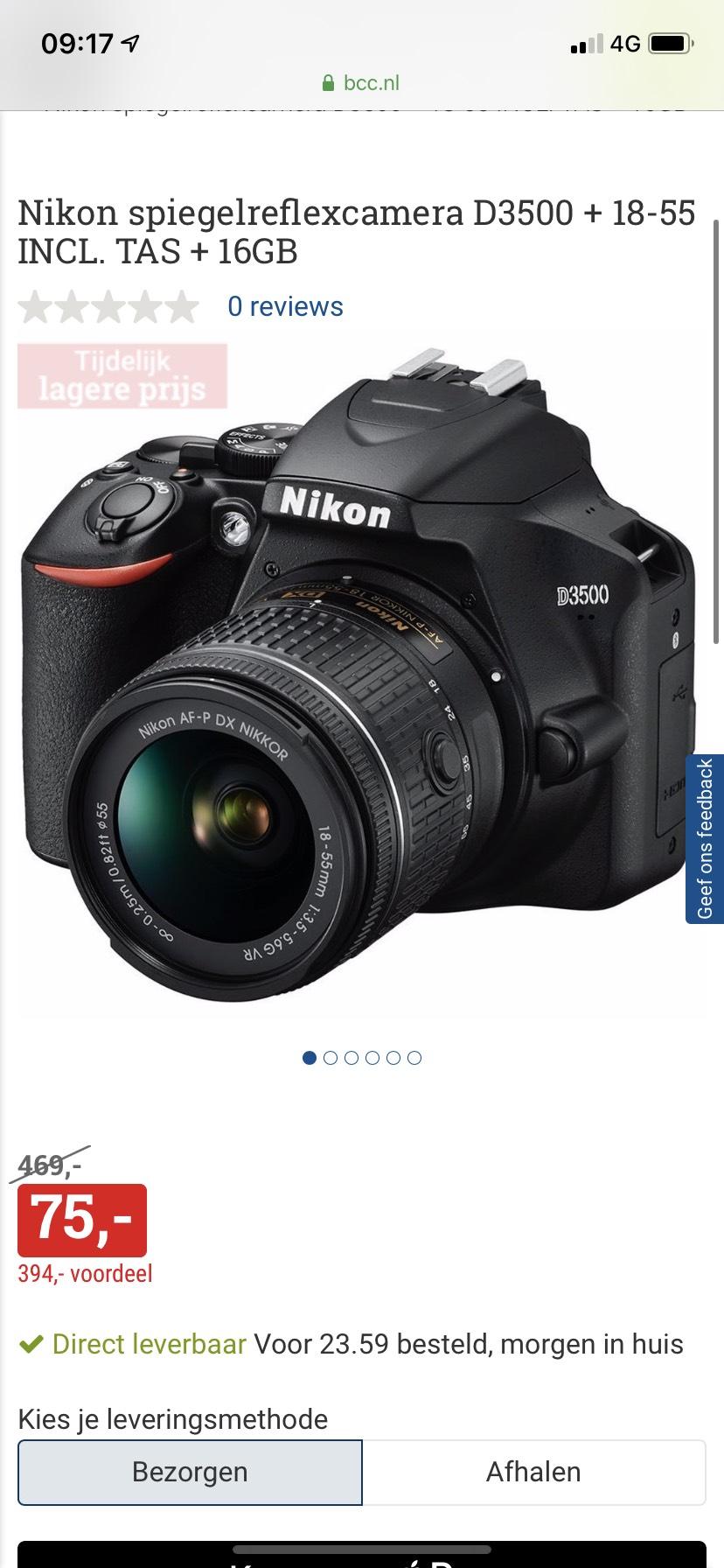Nikon D3500 + 18-55 INCL. TAS + 16GB