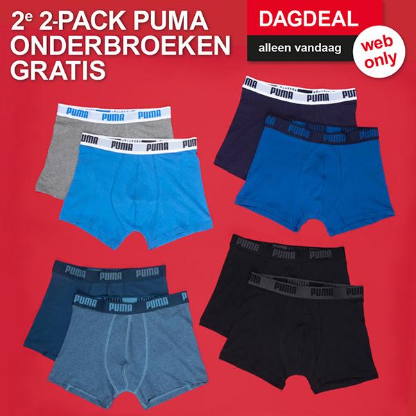 Dagdeal: Puma herenboxers 2-pack 1+1 gratis @ Scapino