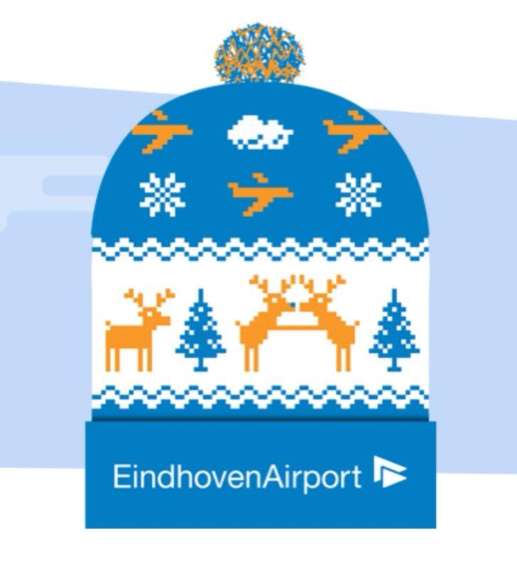 Gratis Eindhoven Airport kerstmuts (alleen even digitaal breien)