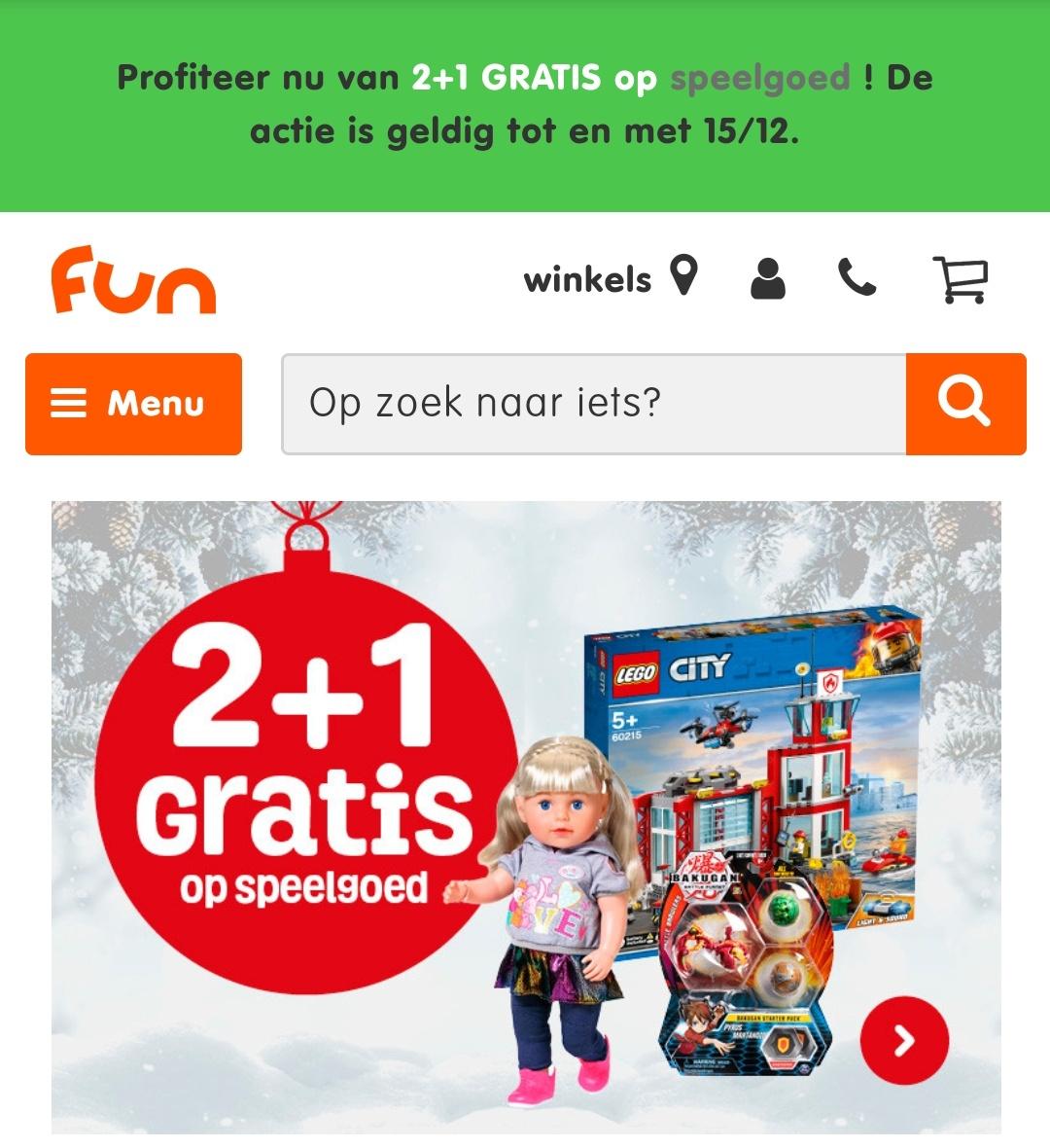 Fun.be veel speelgoed ook Lego 2+1 gratis! (Grensdeal)