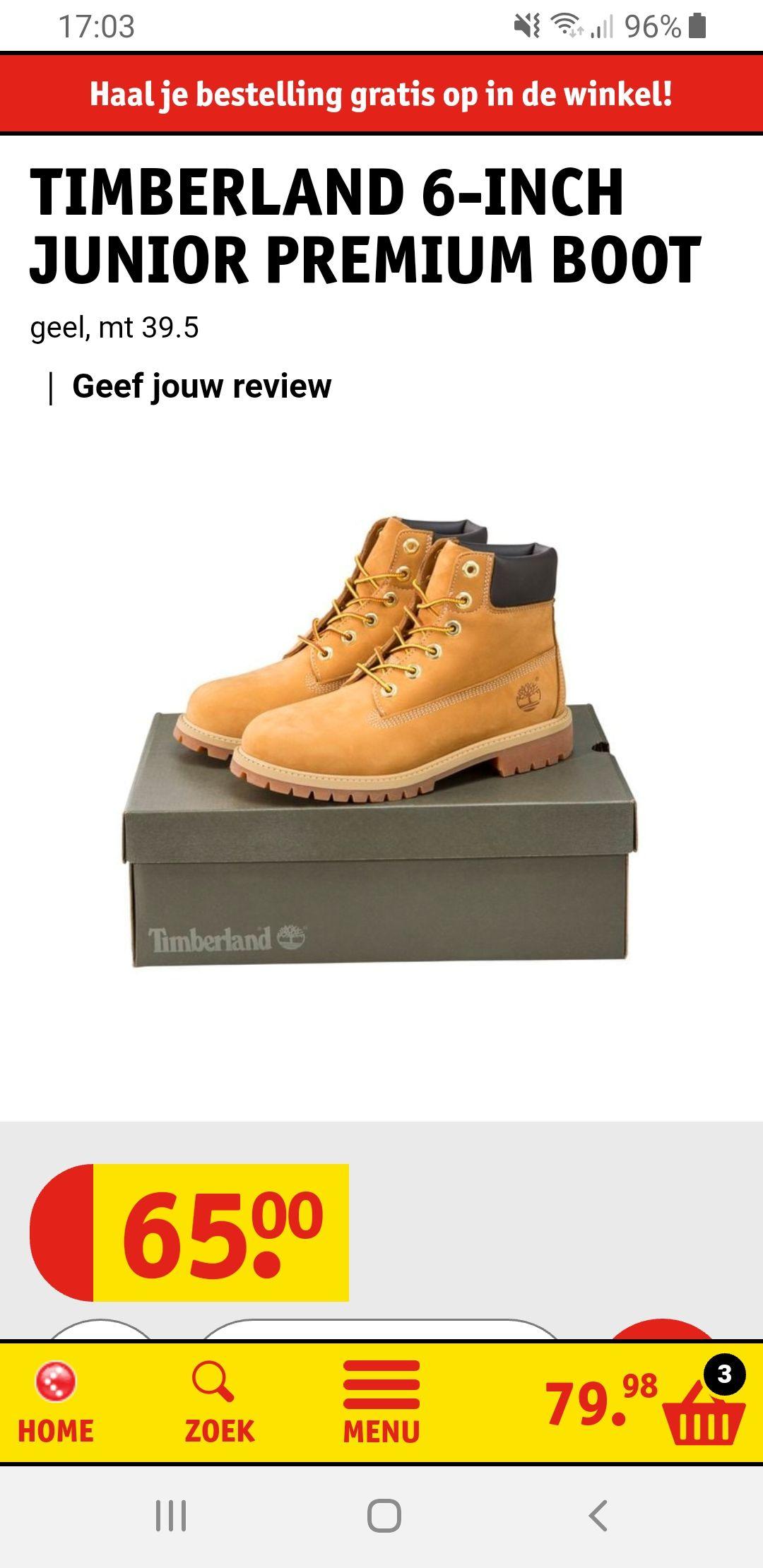 Timberland boots maat 39,5 (kinder schoen) dus zijn iets smaller dan de heren en dames schoenen.