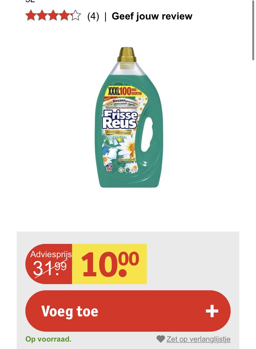 Witte Reus wasmiddel 8 cent per was