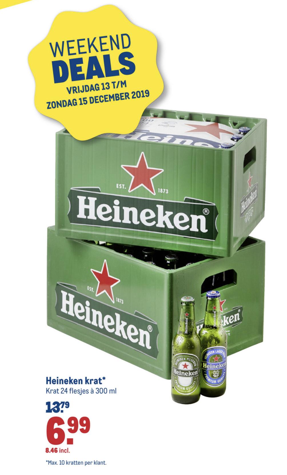 Heineken bier - krat 24 flesjes á 300 ml. - € 8,46 incl. btw!