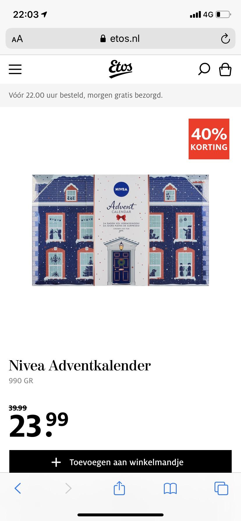 Nivea Adventskalender voor €23,99 ipv €39,99
