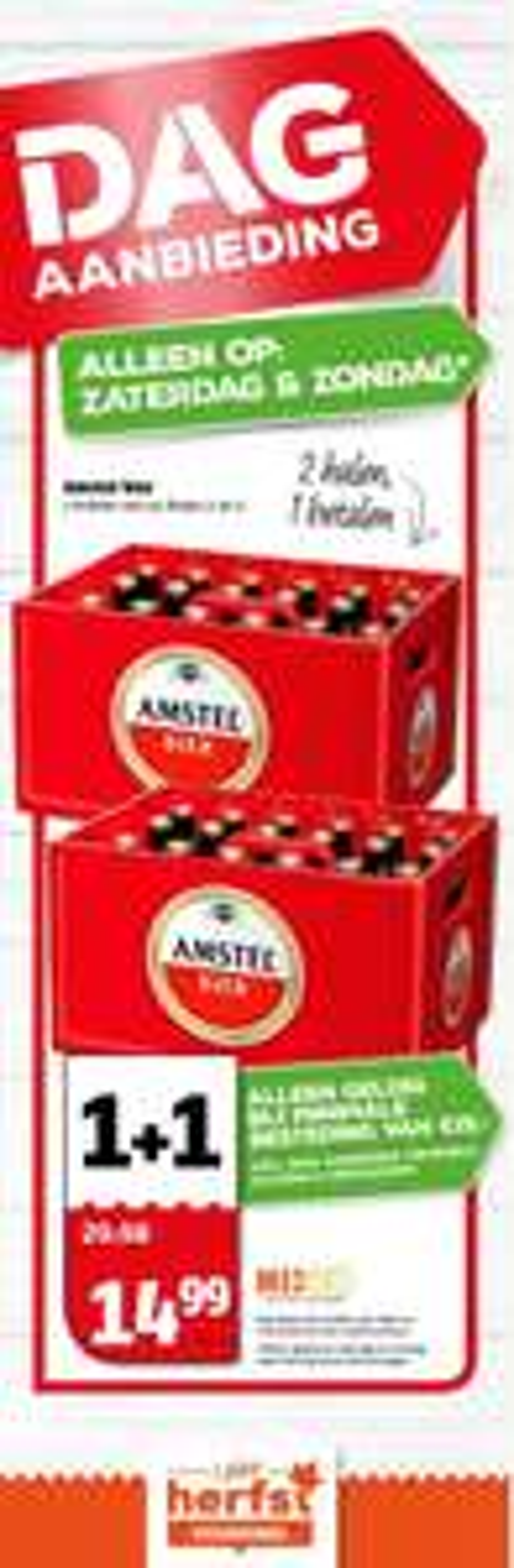Amstelbier krat 1+1 gratis