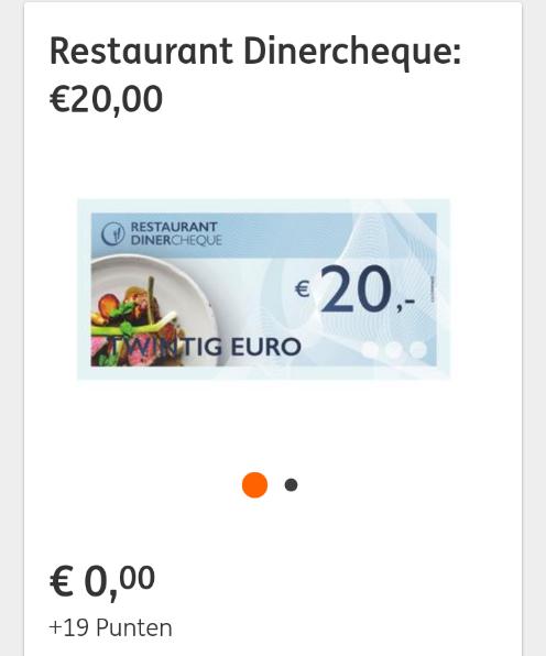 Restaurant Dinercheque €20,- voor 19 ING punten