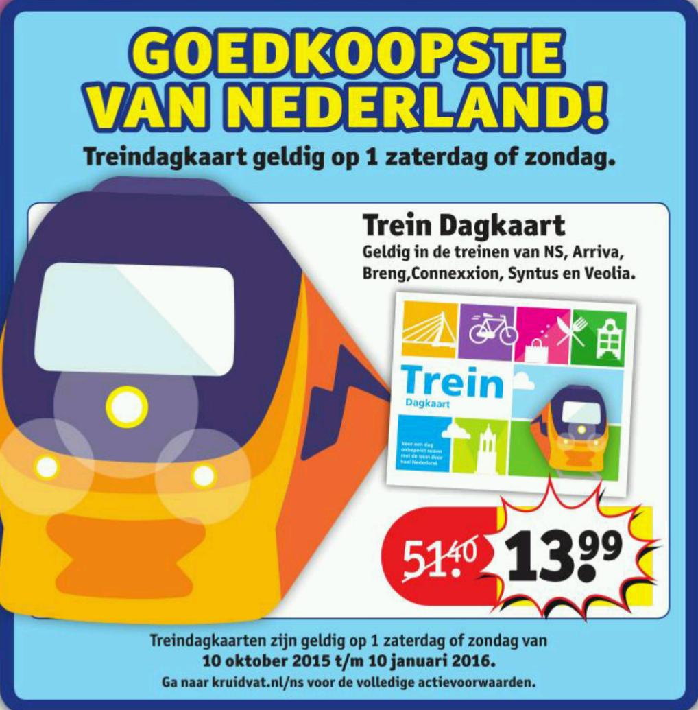 Trein Dagkaart voor €13,99 @ Kruidvat