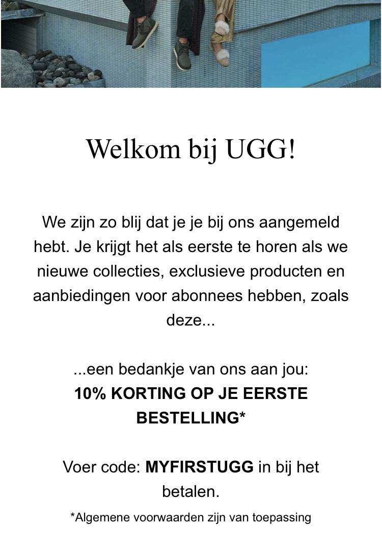 10% korting op eerste bestelling bij UGG.