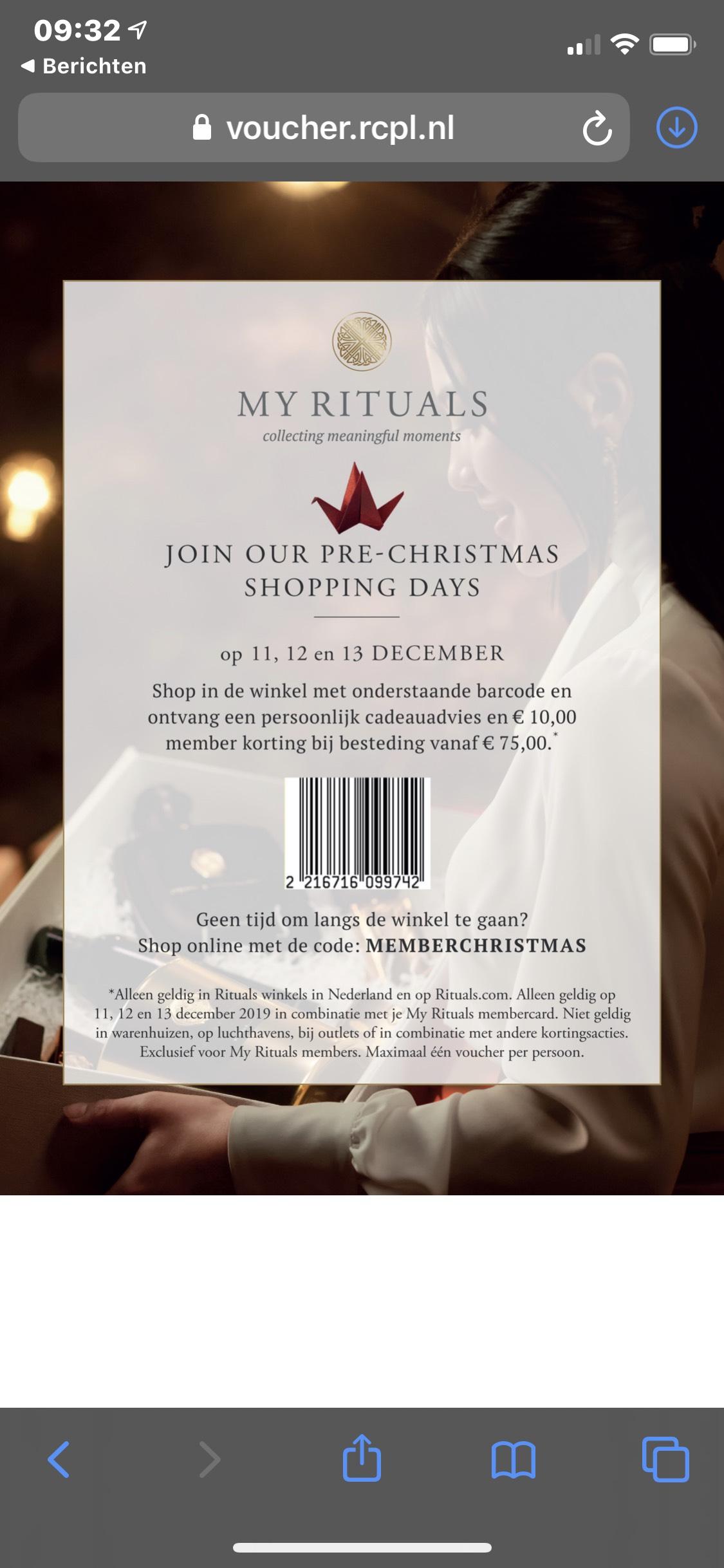 10 euro korting vanaf 75 euro !! Rituals