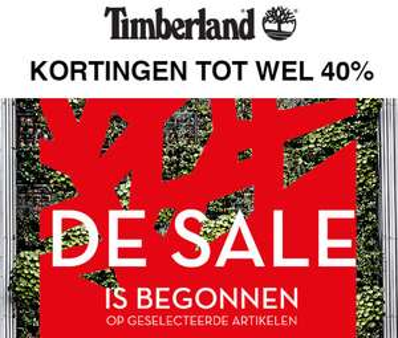 SALE gestart - tot -40% + 10% extra met code @ Timberland