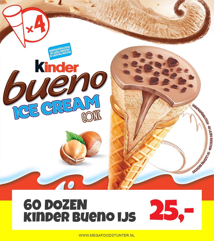 Bueno kinder ijs 60 dozen voor €25 bij Mega Food Stunter 2.0