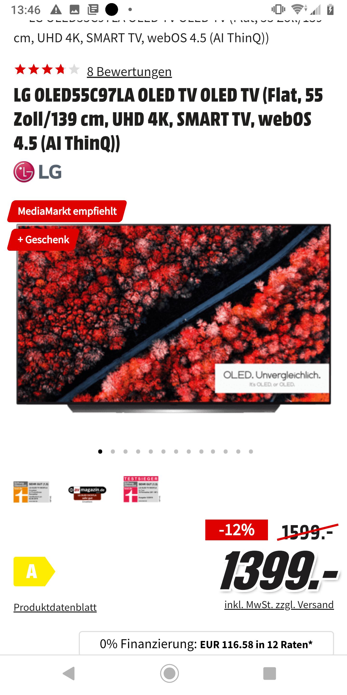 [GRENSDEAL DE] LG OLED55C97LA + gratis soundbar