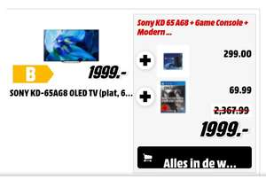 Grensdeal. Sony 65AG8 Oled + PlayStation 4 pro + Call of Duty Modern warfare