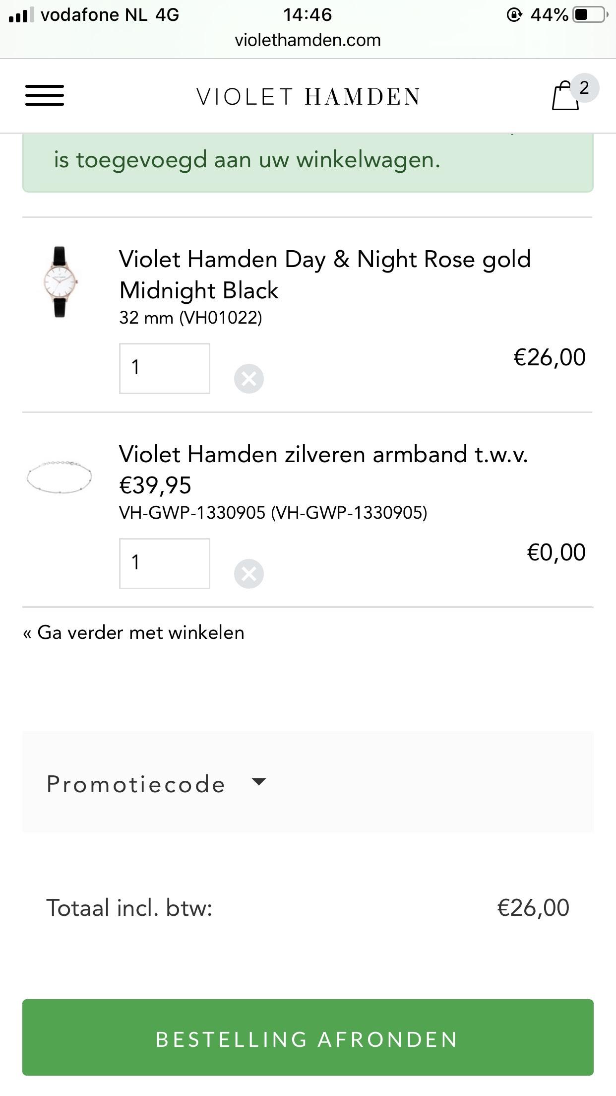 Violet hamden horloge twv €90 + armbandje twv €40 voor €26