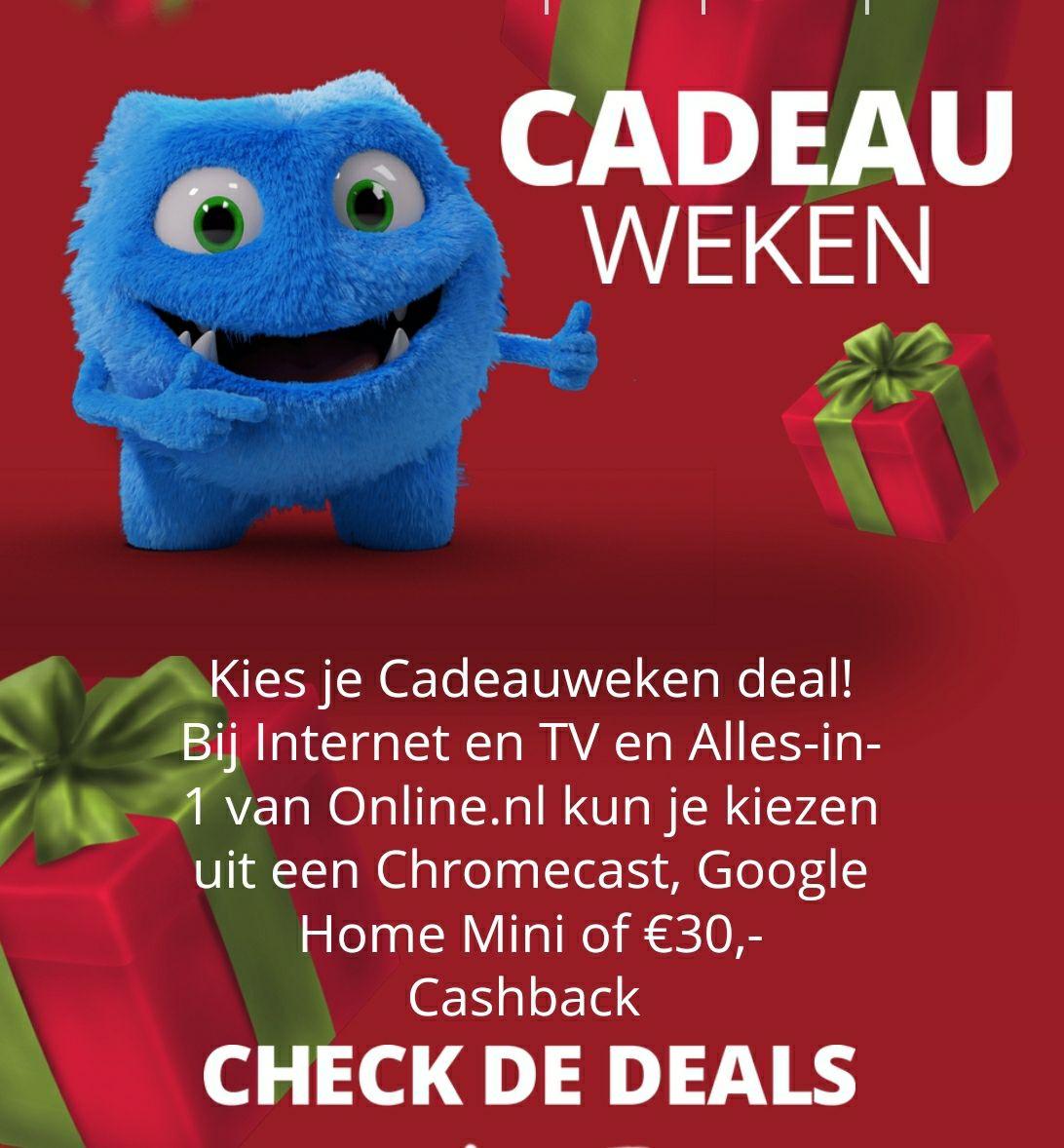 [Online.nl] Internet, TV & bellen Cadeau weken met keuze uit o.a. chromecast