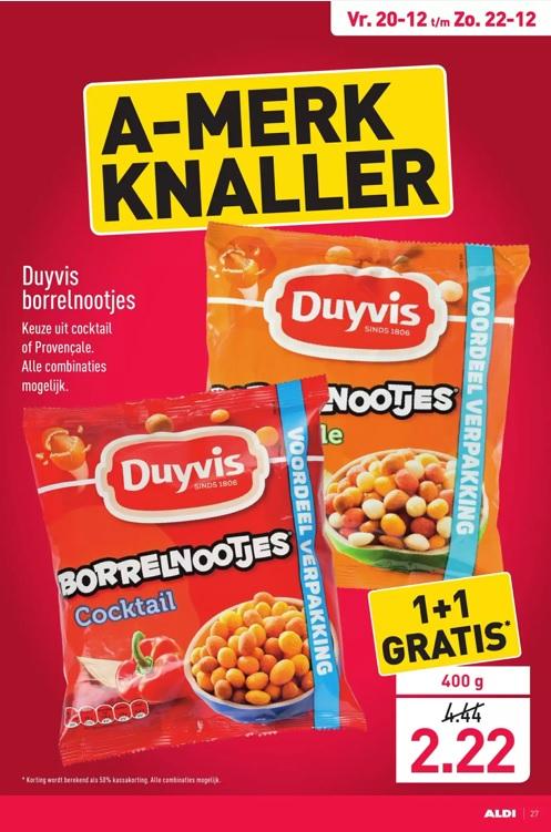 Aldi weekendaanbieding (20 t/m 22 december): Duyvis borrelnootjes voordeelverpakking (400 gram) 1+1 gratis