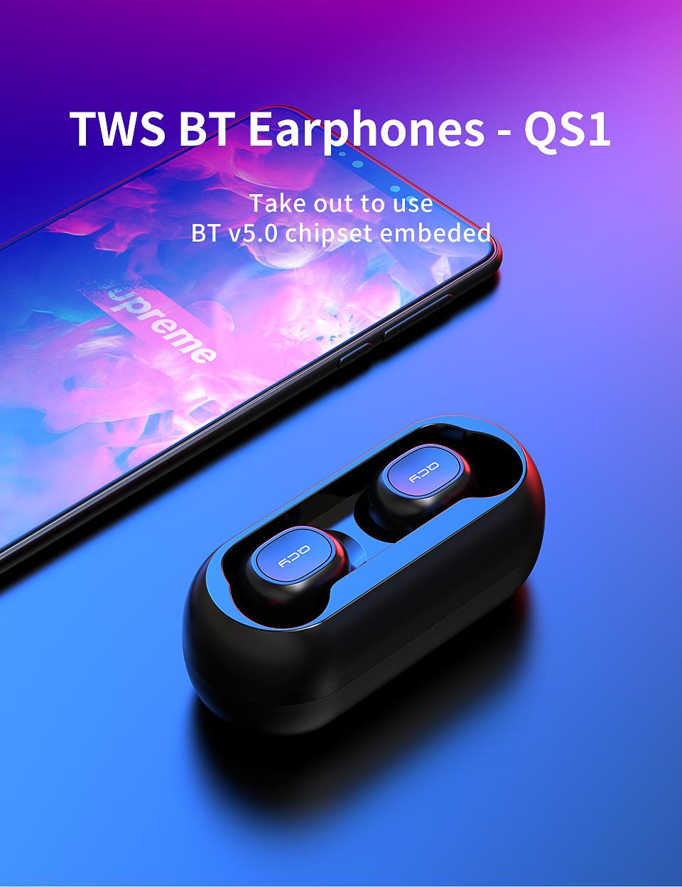 QCY qs1 earphones Bluetooth 5.0 TWS zwart @AliExpress