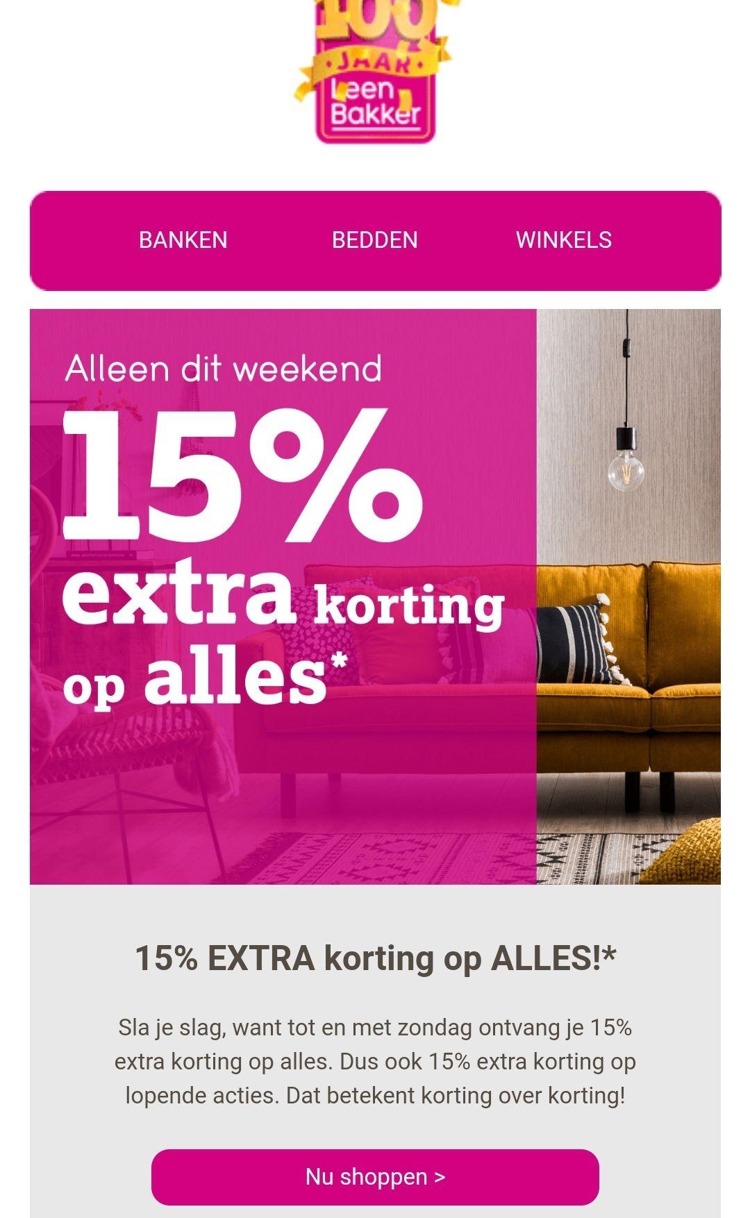 15% korting op ALLES* @ Leen Bakker