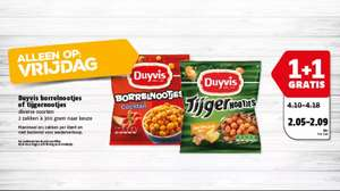 1+1 gratis op duyvis borrelnootjes of tijgernootjes bij Poiesz