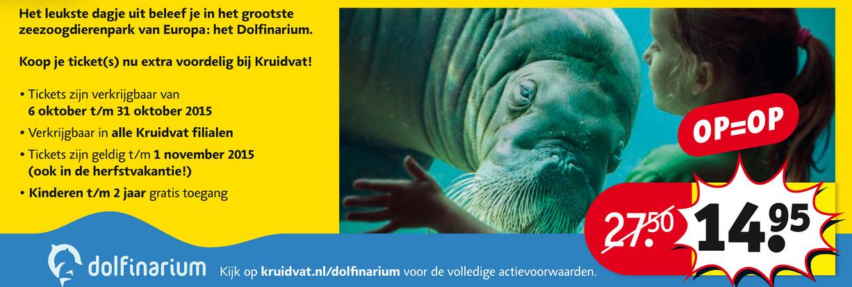 Ticket Dolfinarium voor €14,95 @ Kruidvat (dinsdag)