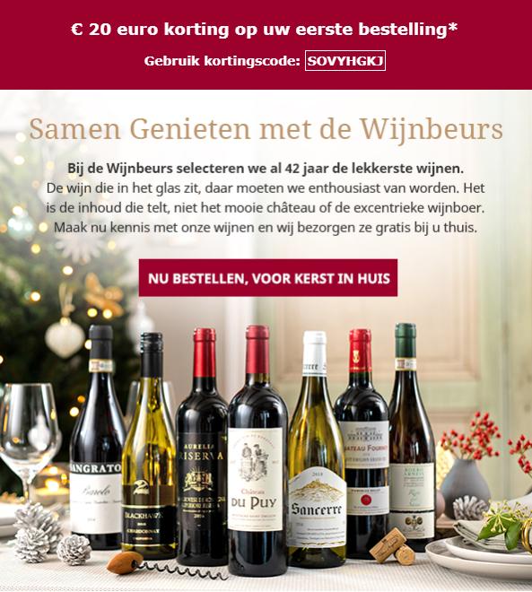 20 euro korting op eerste bestelling vanaf 40 bij De Wijnbeurs