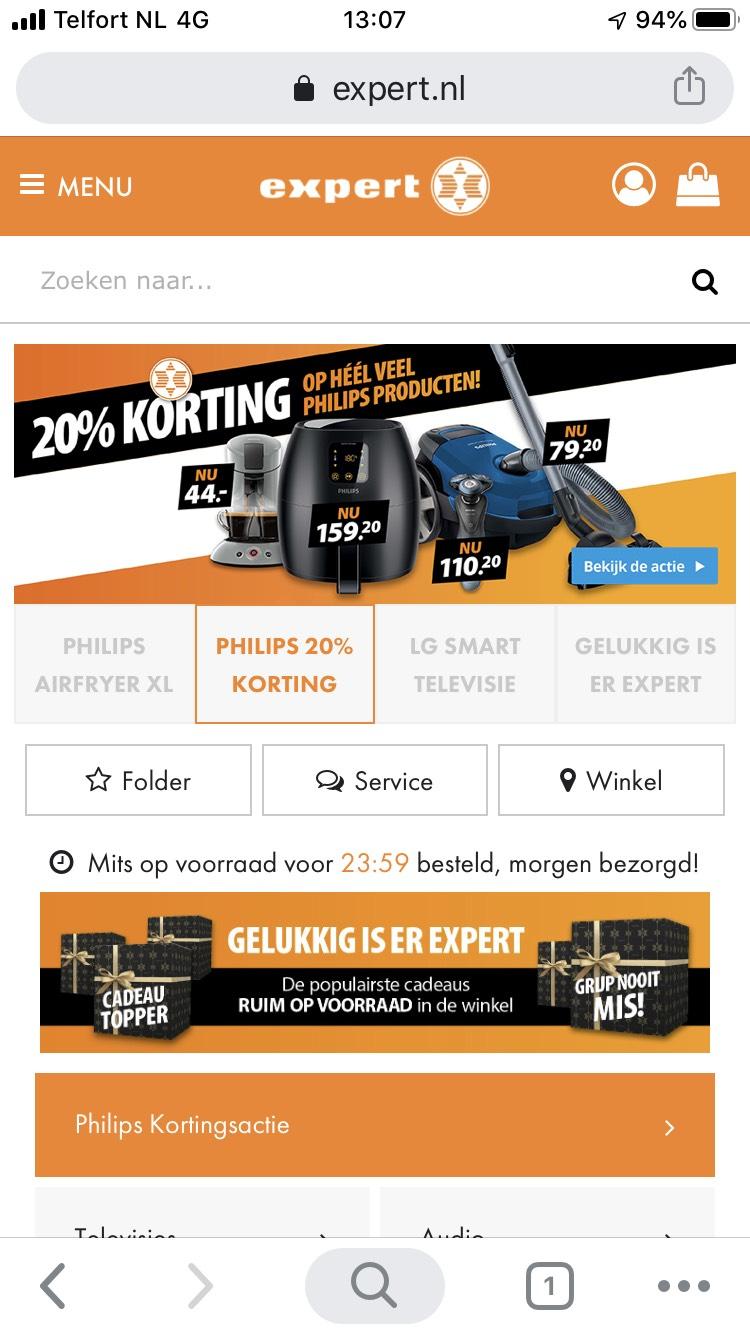 20% korting op Philipsmerk bij Expert