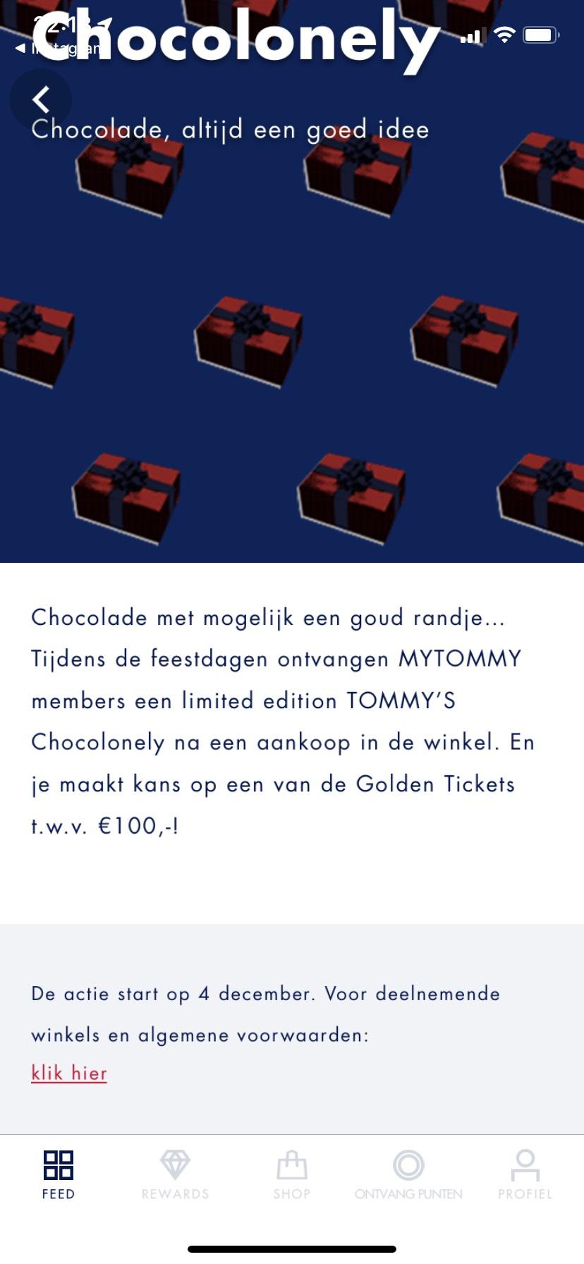 Gratis Tony chocolonely bij een aankoop in de Tommy hilfiger store!