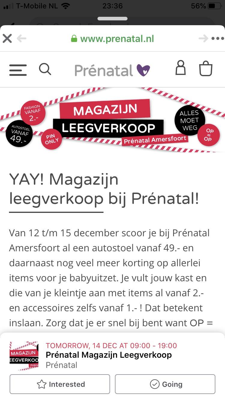 Prenatal Amersfoort Magazijnleegverkoop