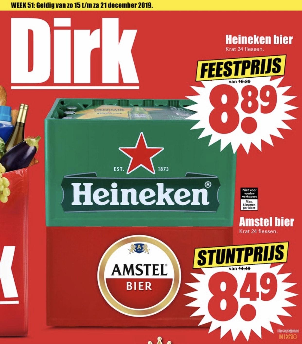 Heineken bier krat 24x voor €8,89 / Amstel bier krat 24x €8,49