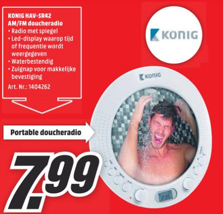 [UPDATE] Konig AM/FM-doucheradio met spiegel (HAV-SR42) voor €7,99 @ Media Markt