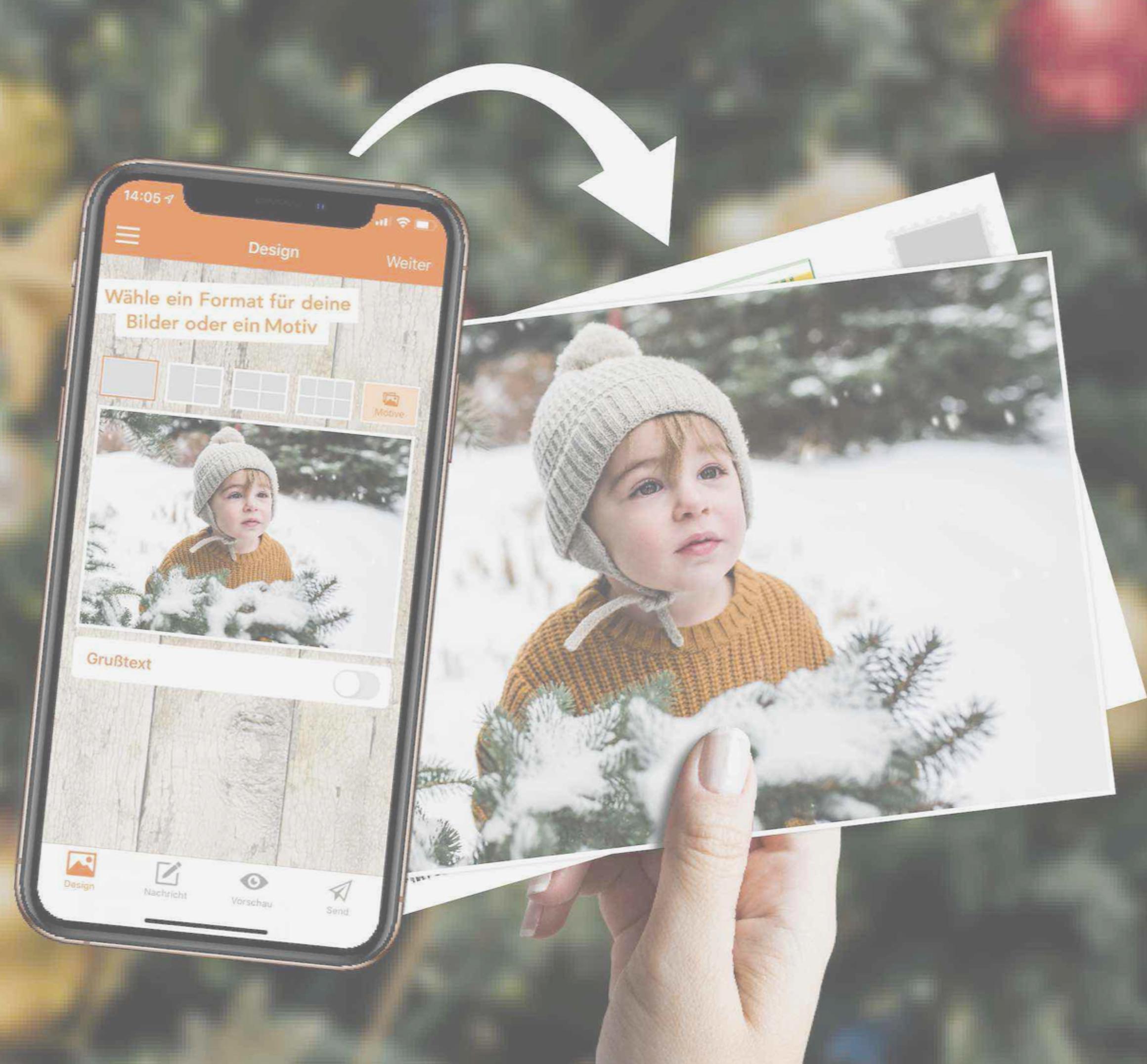 Stuur gratis kerstkaart met uw eigen foto's [Postando App Android & iOS]