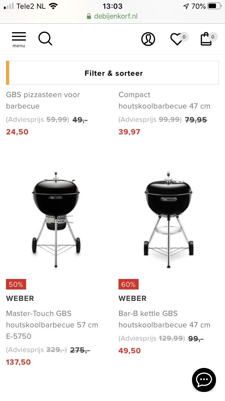 Weber barbecue 50 of 60% korting bij Bijenkorf