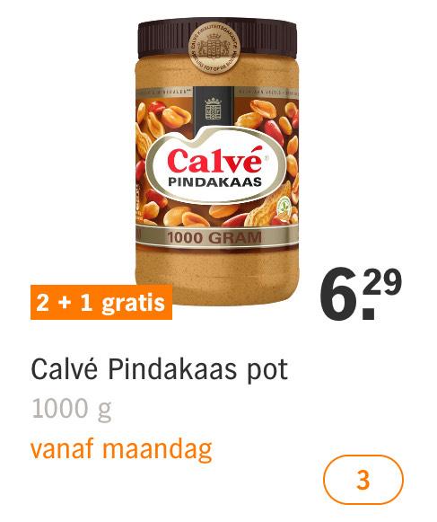 3x1 kilo Calvé pindakaas voor 12,58 (per kilo 4,19) @Albert Heijn