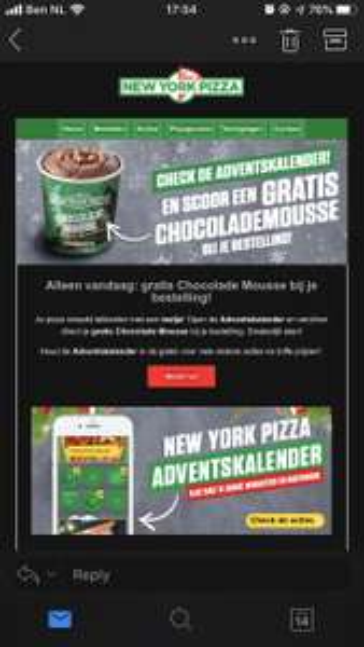 GRATIS Chocolade Mousse bij bestelling New York Pizza via Adventskalender!