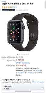 Apple Watch Series 5 GPS 44 mm grijs (Amazon.de)