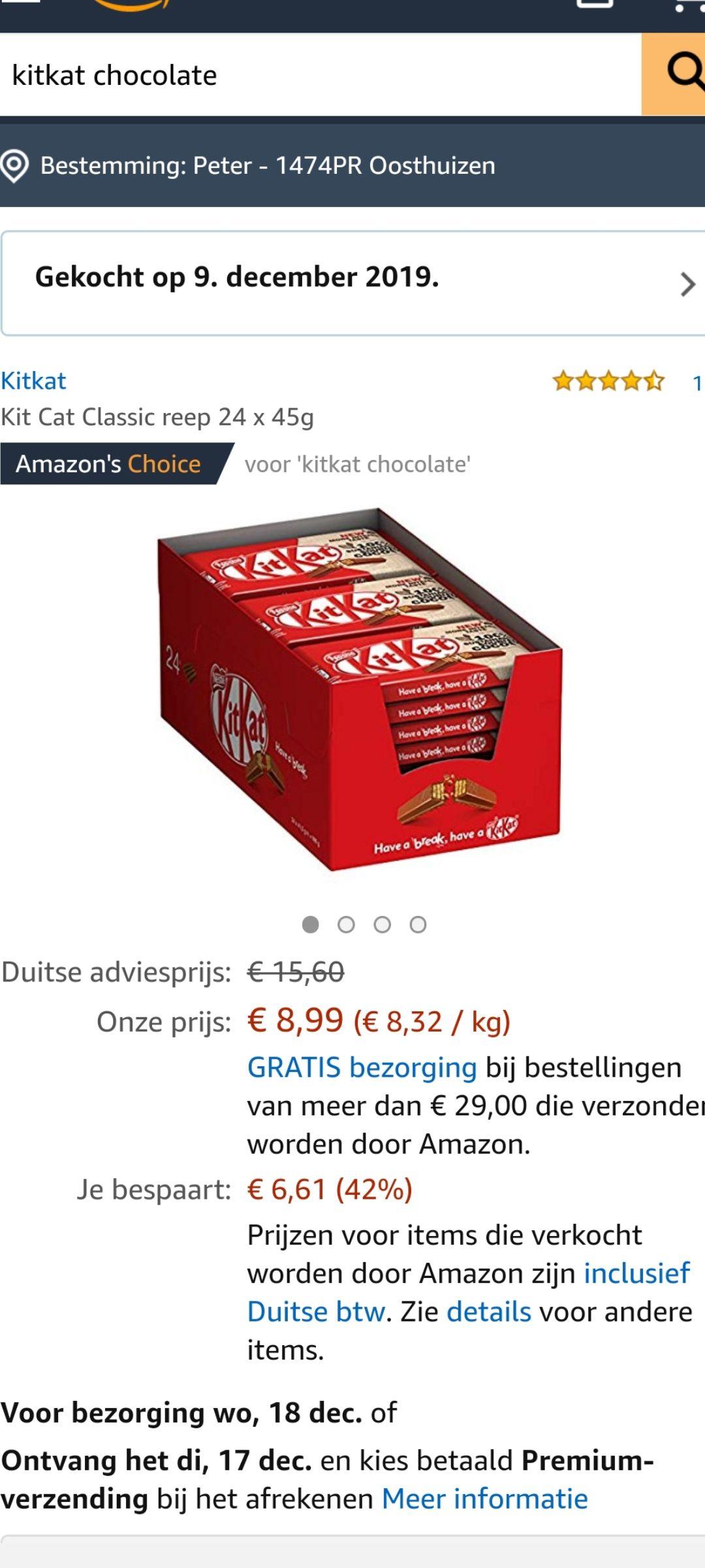 Kit kat chocolade meerdere soorten