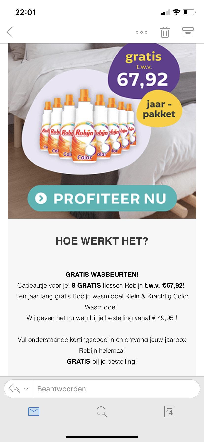 Bij 50 euro besteding 8 flessen robijn gratis met code @Dekbed Discounter