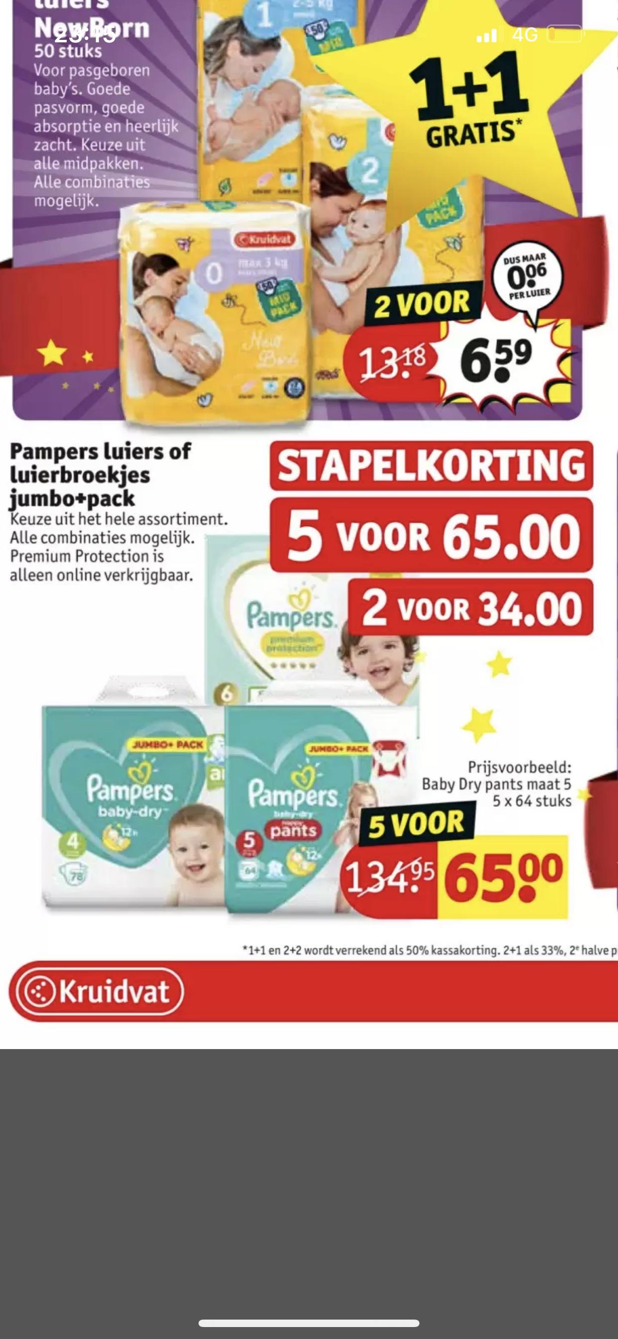 5x jumbo pack pampers voor €65,- bij de Kruidvat