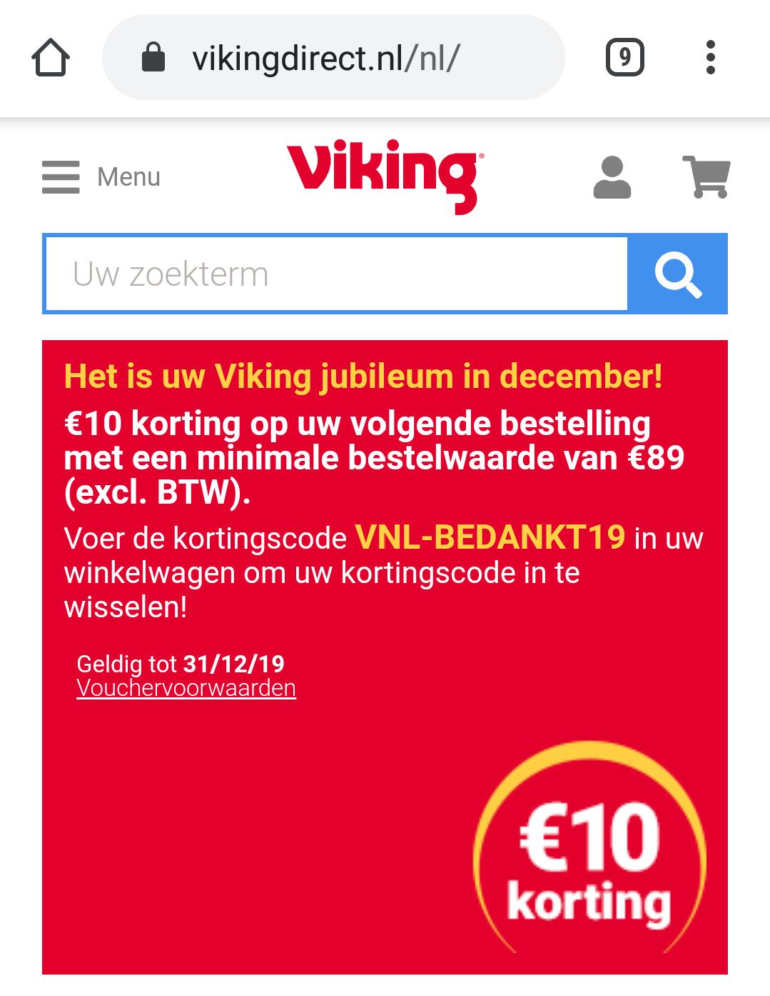 Viking Direct €10.- korting bij besteding vanaf €89.- (excl btw)