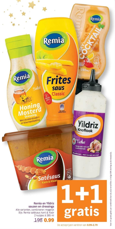 Remia en Yildriz sauzen en dressings 1+1 Gratis bij AH vanaf 16-12