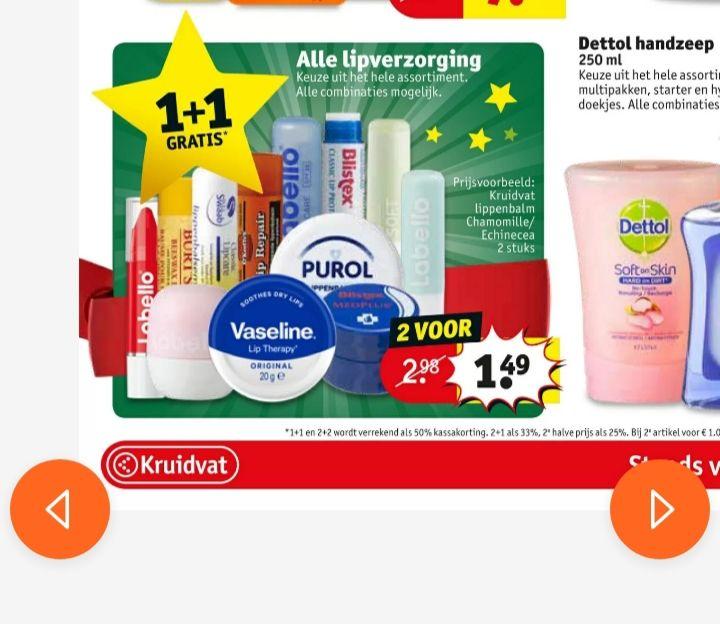 Alle lipverzorging 1+1 gratis, ook Duo-verpakkingen @kruidvat