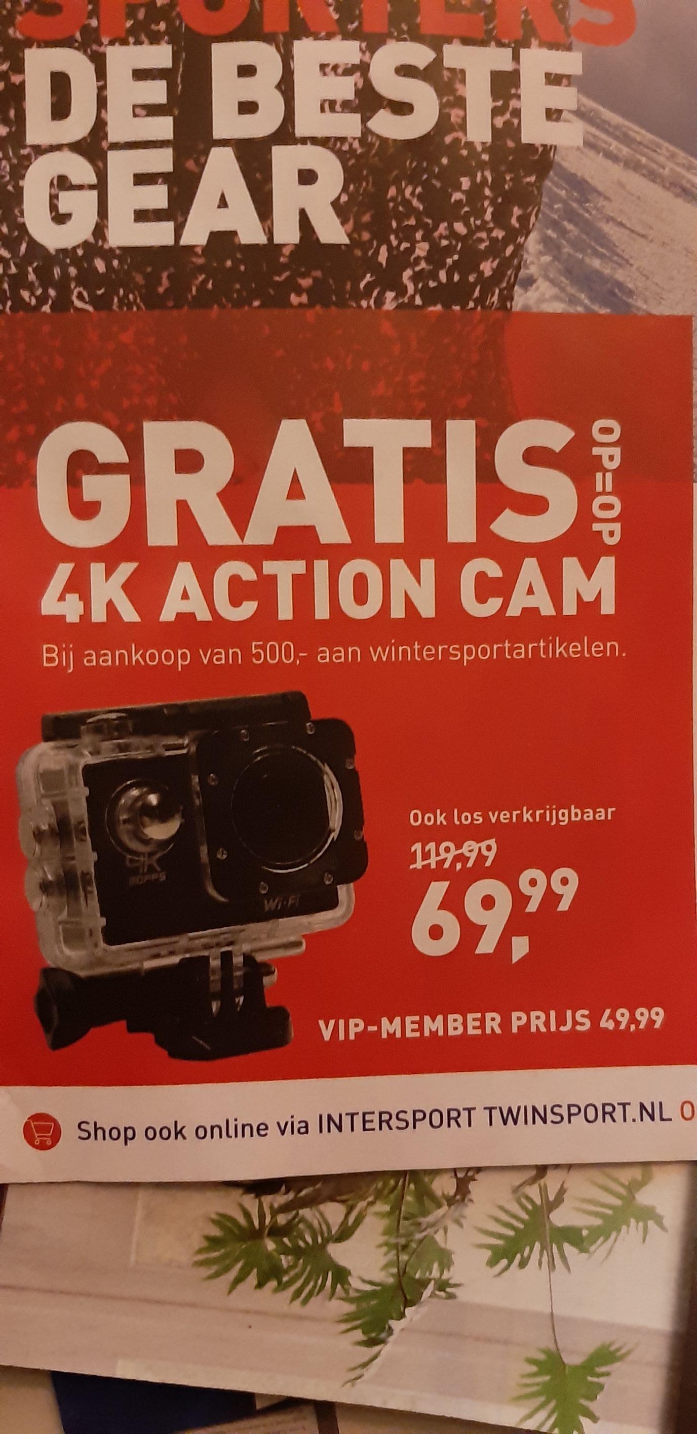 Intersport- Gratis 4k action cam bij aankoop van 500,- aan wintersport artikelen