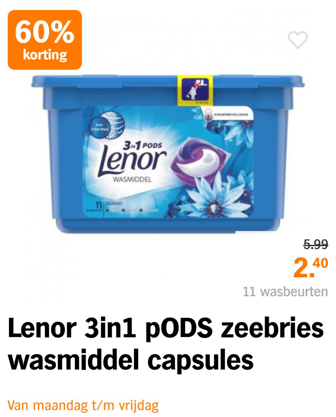 AH 60% korting op alle A-merk wasmiddelcapsules