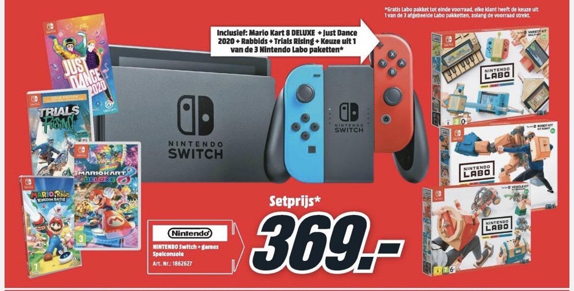 [Grensdeal] Nintendo Switch + 4 games + labo pakket @Mediamarkt België