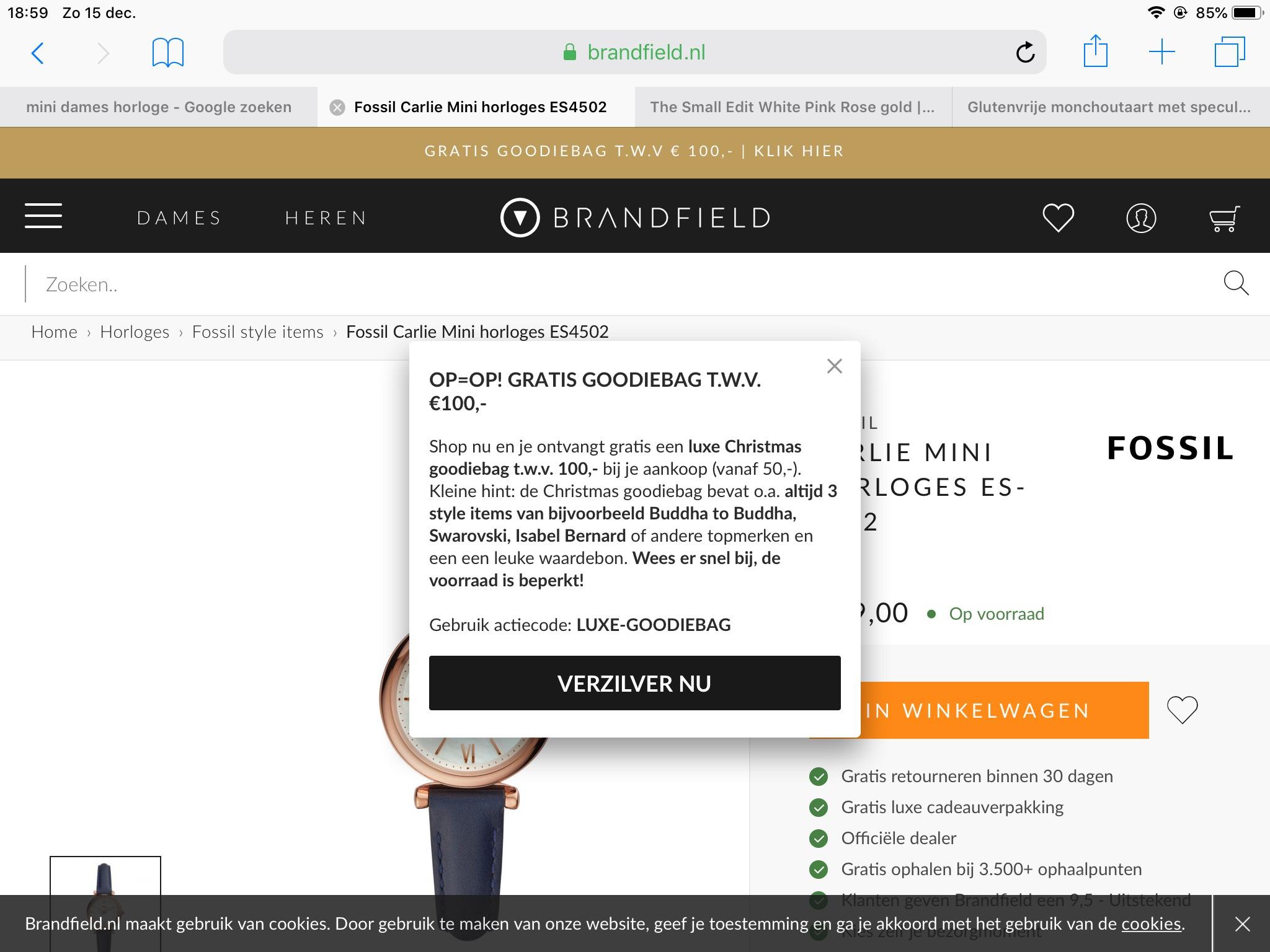 Gratis luxe goodiebag bij je aankoop (min. €50) bij Brandfield