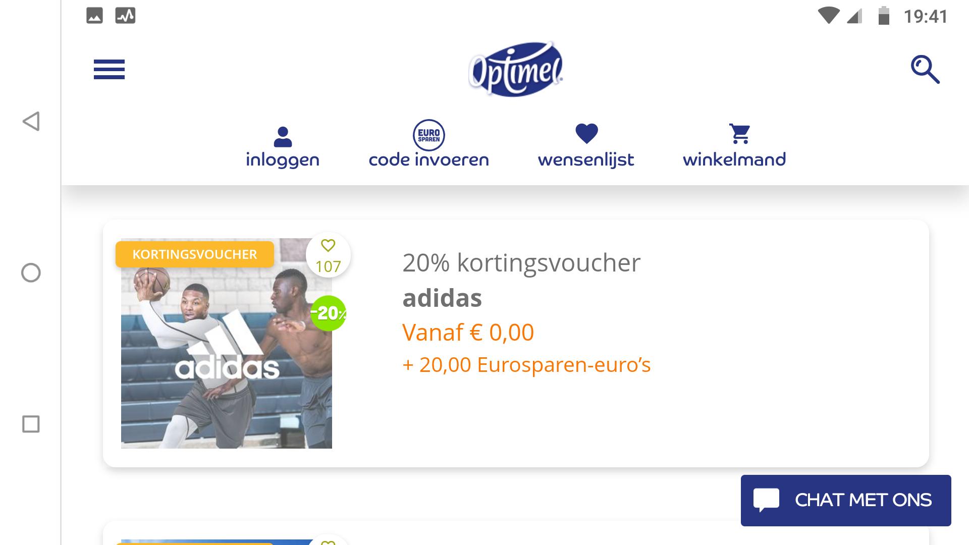Korting 20% adidas.nl via Optimel eurosparen